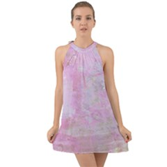 Soft Pink Watercolor Art Halter Tie Back Chiffon Dress