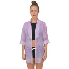 Soft Pink Watercolor Art Open Front Chiffon Kimono