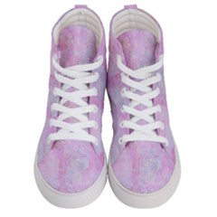 Soft Pink Watercolor Art Women s Hi Top Skate Sneakers