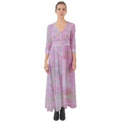 Soft Pink Watercolor Art Button Up Boho Maxi Dress