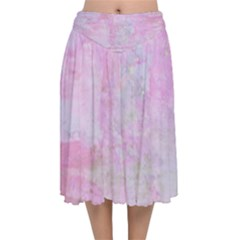 Soft Pink Watercolor Art Velvet Flared Midi Skirt