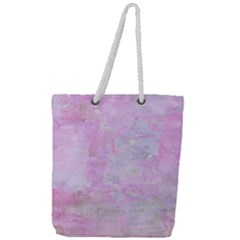 Soft Pink Watercolor Art Full Print Rope Handle Tote (large)