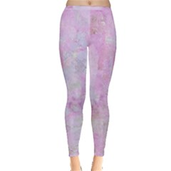 Soft Pink Watercolor Art Inside Out Leggings