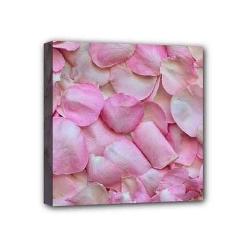 Romantic Pink Rose Petals Floral  Mini Canvas 4  X 4