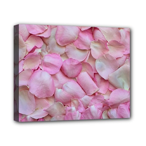 Romantic Pink Rose Petals Floral  Canvas 10  X 8