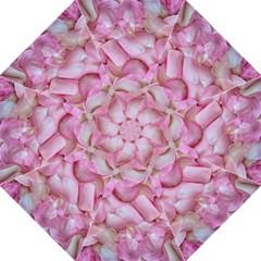 Romantic Pink Rose Petals Floral  Folding Umbrellas