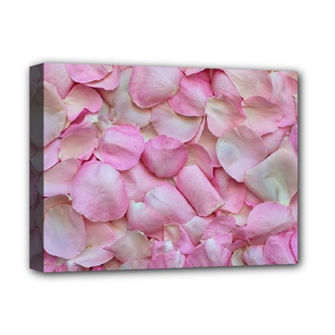 Romantic Pink Rose Petals Floral  Deluxe Canvas 16  X 12