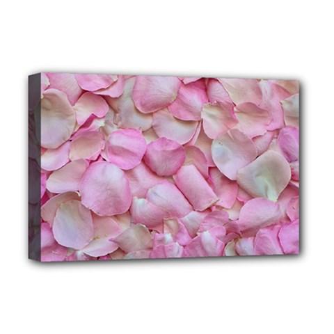 Romantic Pink Rose Petals Floral  Deluxe Canvas 18  X 12