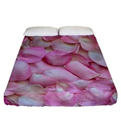 Romantic Pink Rose Petals Floral  Fitted Sheet (california King Size)