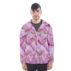 Romantic Pink Rose Petals Floral  Hooded Wind Breaker (men)