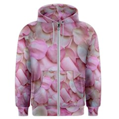 Romantic Pink Rose Petals Floral  Men s Zipper Hoodie