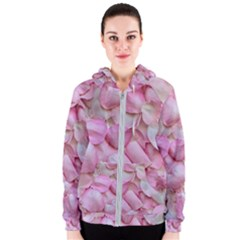 Romantic Pink Rose Petals Floral  Women s Zipper Hoodie