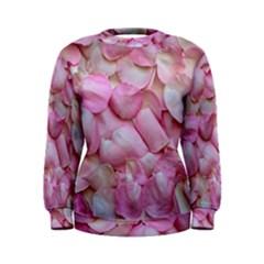 Romantic Pink Rose Petals Floral  Women s Sweatshirt