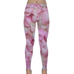 Romantic Pink Rose Petals Floral  Classic Yoga Leggings