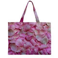 Romantic Pink Rose Petals Floral  Zipper Mini Tote Bag