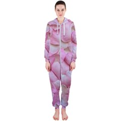 Romantic Pink Rose Petals Floral  Hooded Jumpsuit (ladies)