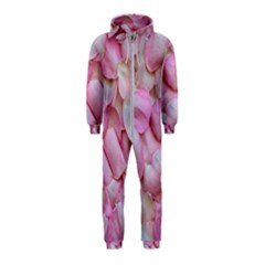 Romantic Pink Rose Petals Floral  Hooded Jumpsuit (kids)