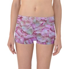 Romantic Pink Rose Petals Floral  Boyleg Bikini Bottoms