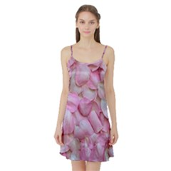 Romantic Pink Rose Petals Floral  Satin Night Slip