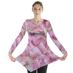 Romantic Pink Rose Petals Floral  Long Sleeve Tunic