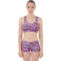 Romantic Pink Rose Petals Floral  Work It Out Gym Set