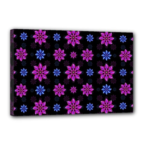 Stylized Dark Floral Pattern Canvas 18  X 12  by dflcprints
