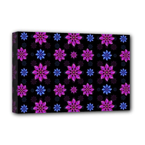 Stylized Dark Floral Pattern Deluxe Canvas 18  X 12