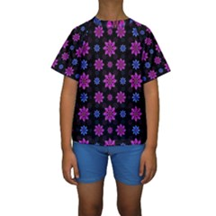 Stylized Dark Floral Pattern Kids  Short Sleeve Swimwear