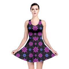 Stylized Dark Floral Pattern Reversible Skater Dress