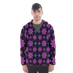 Stylized Dark Floral Pattern Hooded Wind Breaker (men)