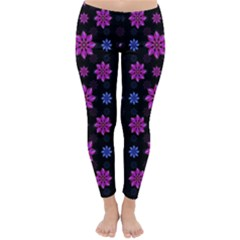 Stylized Dark Floral Pattern Classic Winter Leggings