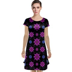 Stylized Dark Floral Pattern Cap Sleeve Nightdress
