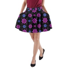 Stylized Dark Floral Pattern A Line Pocket Skirt