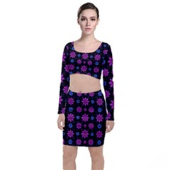 Stylized Dark Floral Pattern Long Sleeve Crop Top & Bodycon Skirt Set