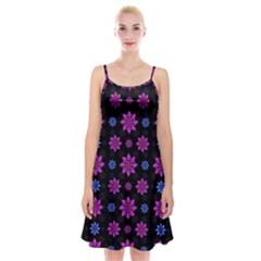 Stylized Dark Floral Pattern Spaghetti Strap Velvet Dress