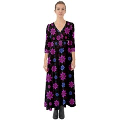 Stylized Dark Floral Pattern Button Up Boho Maxi Dress