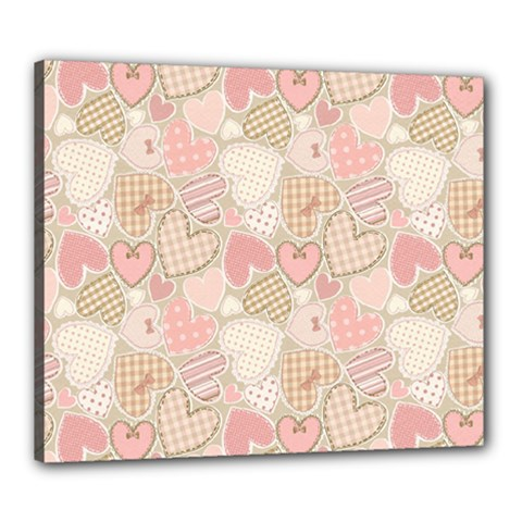 Cute Romantic Hearts Pattern Canvas 24  X 20