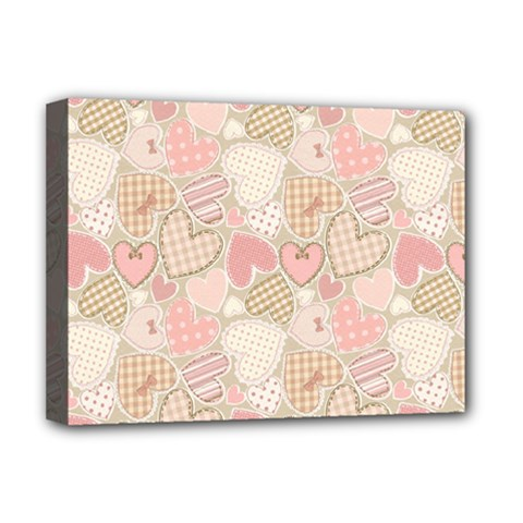 Cute Romantic Hearts Pattern Deluxe Canvas 16  X 12