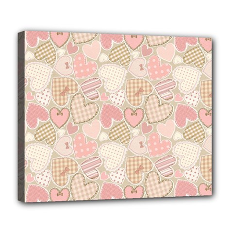 Cute Romantic Hearts Pattern Deluxe Canvas 24  X 20