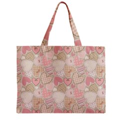Cute Romantic Hearts Pattern Zipper Mini Tote Bag