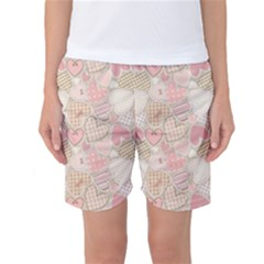 Cute Romantic Hearts Pattern Women s Basketball Shorts