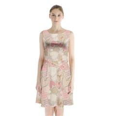 Cute Romantic Hearts Pattern Sleeveless Waist Tie Chiffon Dress