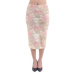 Cute Romantic Hearts Pattern Midi Pencil Skirt