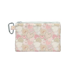 Cute Romantic Hearts Pattern Canvas Cosmetic Bag (small)