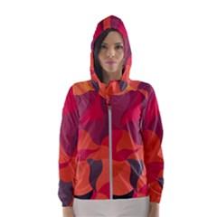 Red Orange Yellow Pink Art Hooded Wind Breaker (women)