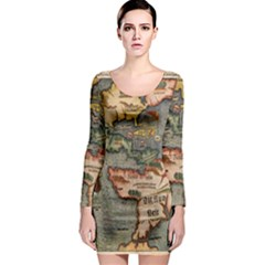 Vintage Map Long Sleeve Bodycon Dress