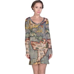 Vintage Map Long Sleeve Nightdress