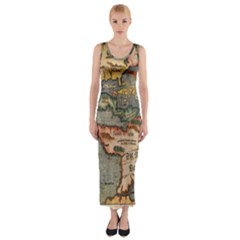 Vintage Map Fitted Maxi Dress
