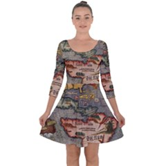 Vintage Map Quarter Sleeve Skater Dress