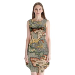 Vintage Map Sleeveless Chiffon Dress